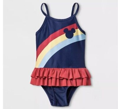 e0eb9a90cf85a Junk Food Disney Girls Rainbow Mickey Mouse One Piece Swimsuit Bathing Suit  2T