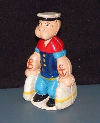 "POPEYE The SAILOR Carrying Bags Satchels  CAST IRON DIME  BANK 5 1/2"" TALL r"