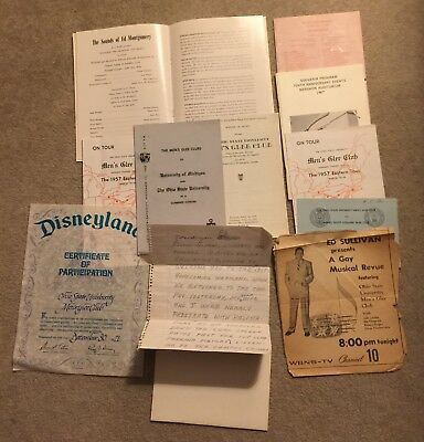 Vintage Ohio State OSU Music Men's Glee Club Norman Staiger PROGRAMS Articles