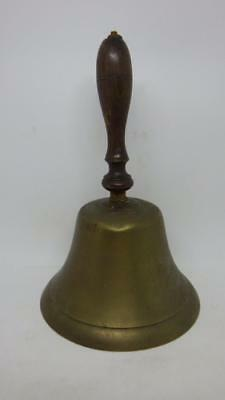 Large Vintage Old School Brass Bell - nice ring wooden handle