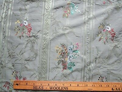 "Green Silk Brocade Woven Floral fabric 61""x50"""