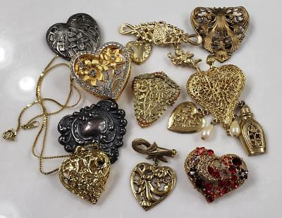 Lot Of 9 Vintage Heart Shaped Pins 1 Necklace Collections Lot