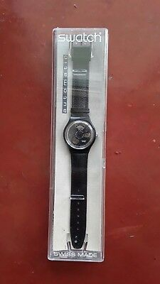 RARE New in Box SWATCH Black Motion Automatic SAB100 Swiss Watch Leather 1991