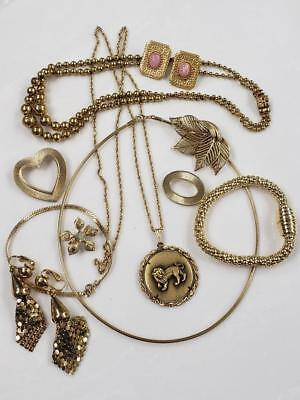 Lot Of 11 Items Gold Tone  Vintage Jewelry Collection Lot