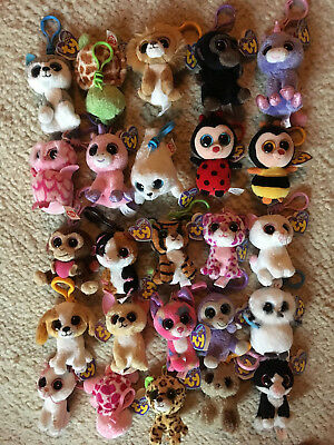 "25 retired ty Beanie Boos rare key clip 3"" xmas LOT with purple tags magic"