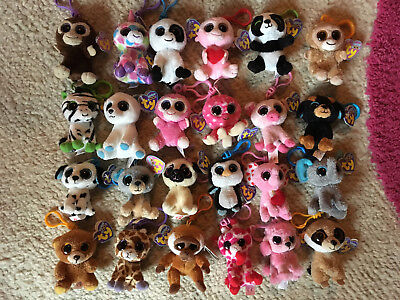 "24 retired ty Beanie Boos rare key clip 3"" xmas LOT with purple tags wishful"