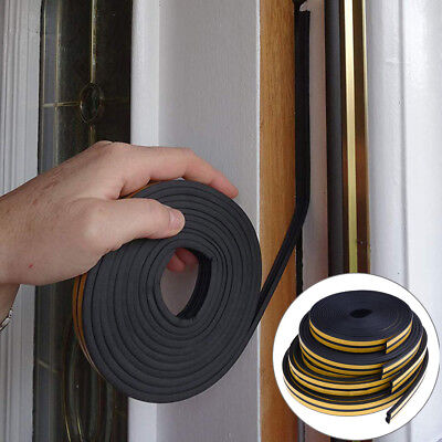 10M Draught Excluder Self Adhesive Rubber Door Window Seal Strip Roll Foam PLHN