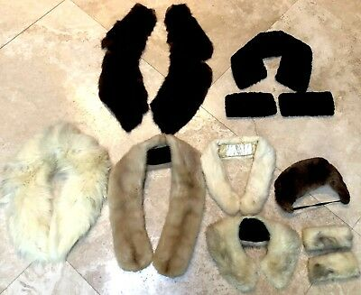 Lot - Vintage  7 Real Fur Items - 4 Collars 2 Collars & Cuffs 1 Hat