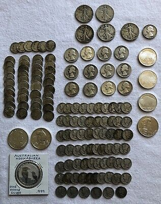 Large Lot 90% U.S Silver Coins 16.95 Face Value + Silver Rounds