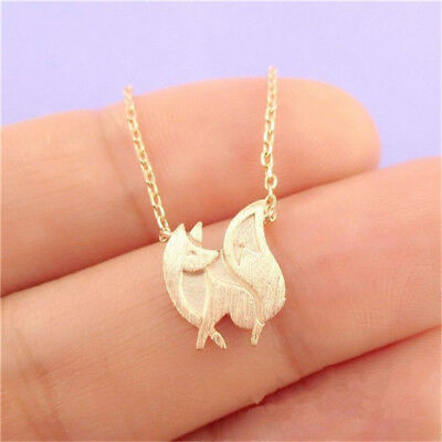 Silver/Gold Tone Small Fox Pendant Choker Clavicle Necklace Jewelry Gift G
