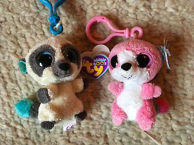 "retired ty Beanie Boos rare key clip 3"" xmas cleo and bubblegum with purple tags"