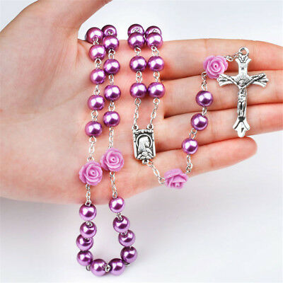 Charm Faux Pearl Beads Rose Flower Catholic Rosary Jesus Christ Cross Necklace G