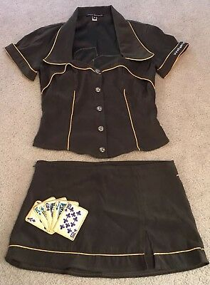 Vtg Electric Barbarella Lucky Lady/Poker Skirt Set/Outfit/Cocktail - Size S/M
