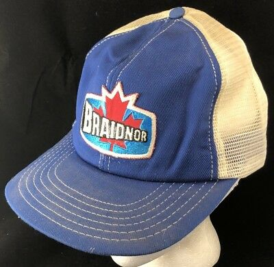 8499a65196f11 Vtg 80s Mesh Trucker Hat Snapback Patch Cap Braidnor Construction Farmer  Style