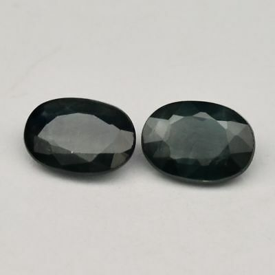 Pair 2pcs/1.10ct t.w 5.8x4.2mm Oval Natural Bluish Green Sapphire, Heated Only