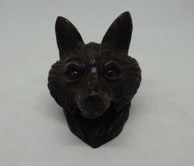 Antique Black Forest Carved Wood Fox Head Inkwell Ink Well Victorian