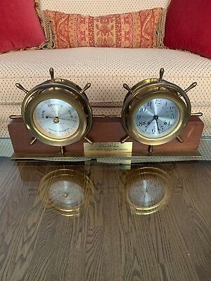 "VINTAGE SETH THOMAS SHIPS BELL Striking MANTLE CLOCK & BAROMETER ""HELMSMAN"""
