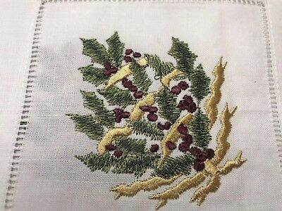 "Vintage Holiday Embroidered Linen Coctail Napkins 6"" Square Set Of Four"