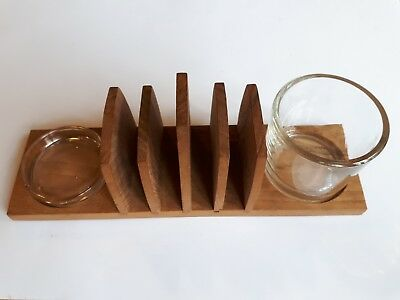 Vintage wooden Breakfast Toast Rack, Butter and Marmalade set