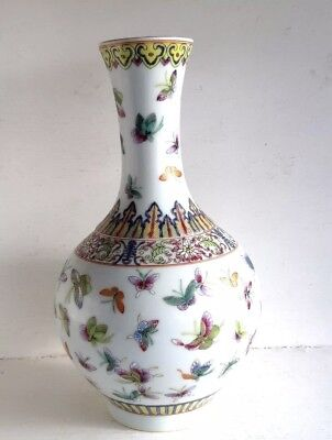 Antique Chinese Hand Painted 100 Butterfly Famille Porcelain Vase Republic Qing