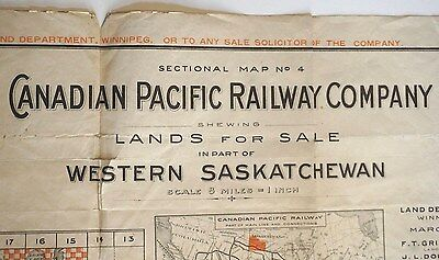 1910  CANADIAN PACIFIC RAILWAY Settlers Settlement Map  Land for Sale