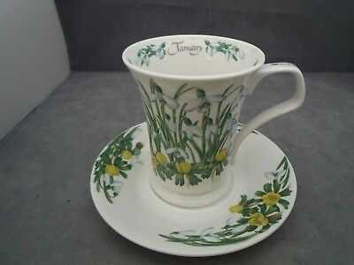 Dunoon Snowdrop Flower Of The Month January Mug And Saucer
