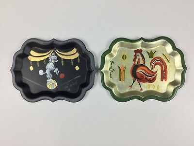 """Georges Briard TWO (2) Mid-Century 7 3/4"""" Tin Tole Trays Poodle Rooster Fabulous"""