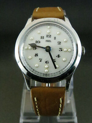 EBEL 120 1950's Vintage Swiss Switch-Open Bezel Braille Dial Rare Fully Serviced