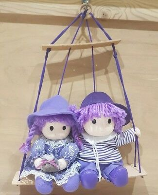 Beautiful Lavender Lilac Girl and Boy on a Swing Hanging Ceiling Mobile Nursery