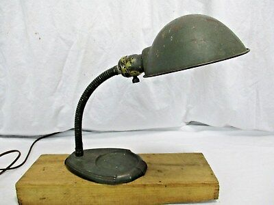 Antique Art Deco DESK LAMP With Tray Flexible Neck Industrial Steampunk WORKS!!