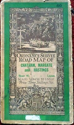 ORDNANCE SURVEY map Chatham Margate & Hastings 1919 half-inch to mile