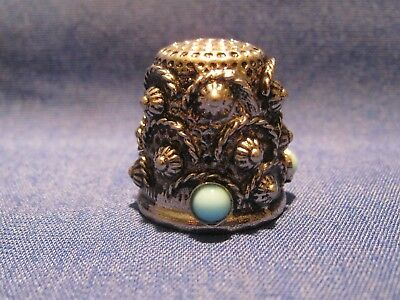 Vintage Silvertone Metal with raised design with 3 blue dots Thimble