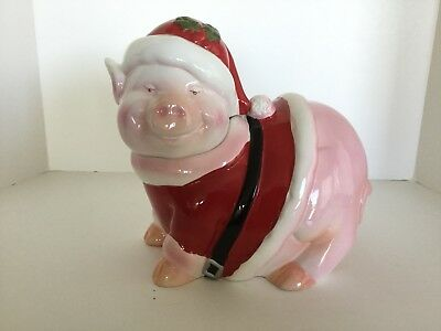 Holiday Time Santa Pig Cookie Jar Hand Painted Excellent Condition Original Box