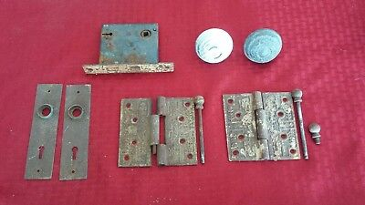 Antique Victorian Eastlake Door Hardware, Hinges, Latch, Knobs, and Face Plates