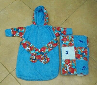 Baby Boy Towel and Hooded Towelling Bath Robe Set
