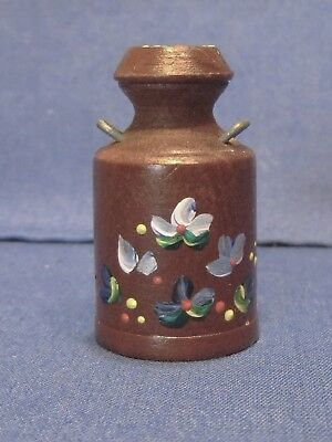 Miniature Wood Milk Can Shape with Hand Painted Flower Design Novelty Thimble