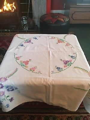 Beautiful Hand Embroidered Vintage White Linen Tablecloth
