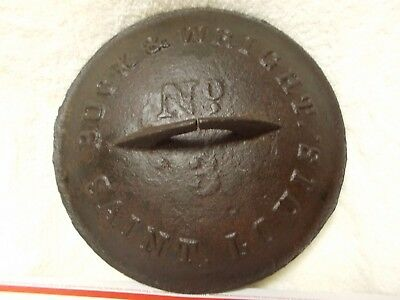 Antique Buck & Wright Cast Iron Pan Lid 10.5 In. Dia. Expansion Slit In Handle