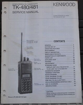 Service Manual for Kenwood TK-480 / 481 800 Mhz 900 Mhz Hand Held Portable Radio