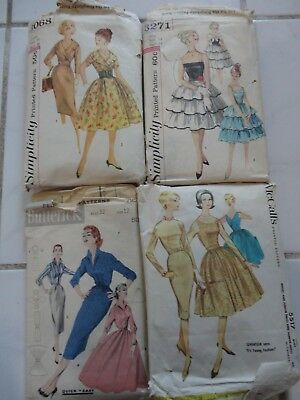 Lot of 4 Vintage Dress Patterns 40's to 1960 Bust Sizes 32-35