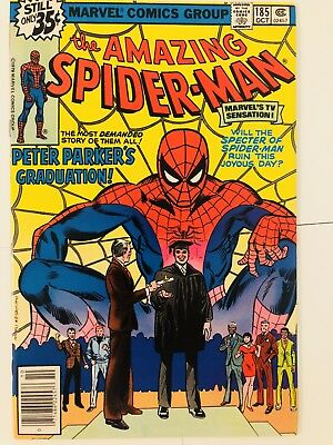 Amazing Spiderman 185 Peter Parker Graduation! Everything starts at 99 cents!