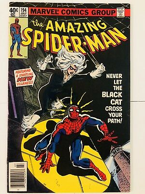 Amazing Spiderman 194 1st Black Cat! Beautiful! Everything starts at 99 cents!