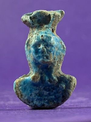 Circa 660-330Bc Beautiful Ancient Egyptian Glazed Faience Pharaonic Bust Amulet