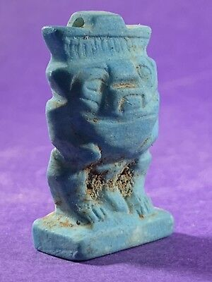 Circa 660-330Bc - Beautiful Ancient Egyptian Faience Figure Amulet W/hieroglyphs