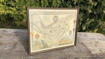 Beautiful Vintage Framed & Mounted Cheshire Chester Map *