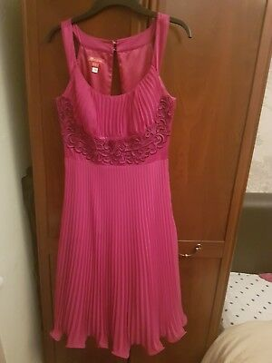 Genuine Monsoon Raspberry Party Dress Small, UK size 10, US 6, Eur 38 Worn Once!