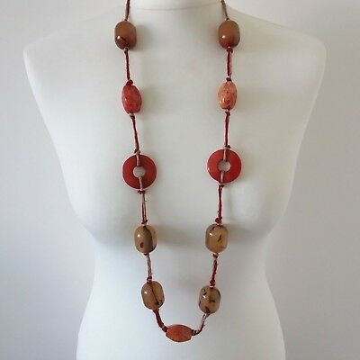 Vintage style faux amber and confetti lucite plastic bead necklace, Retro 60s