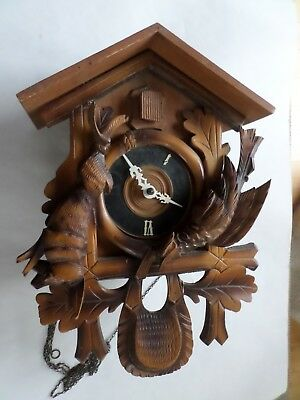 Antique Black Forest Cuckoo Clock, Carved Rabbit And Bird