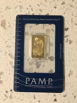 10 gram Gold Bar ~ PAMP Lady Fortuna in Sealed Assay Card. **NO RESERVE**