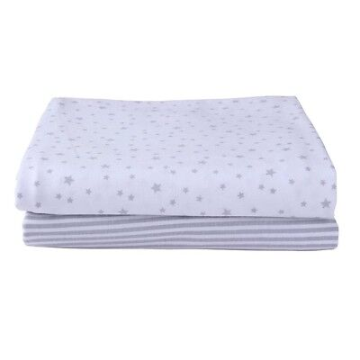 Clair de Lune Grey Stars and Stripes Jersey Cotton Printed Fitted Sheet, 2 Pack